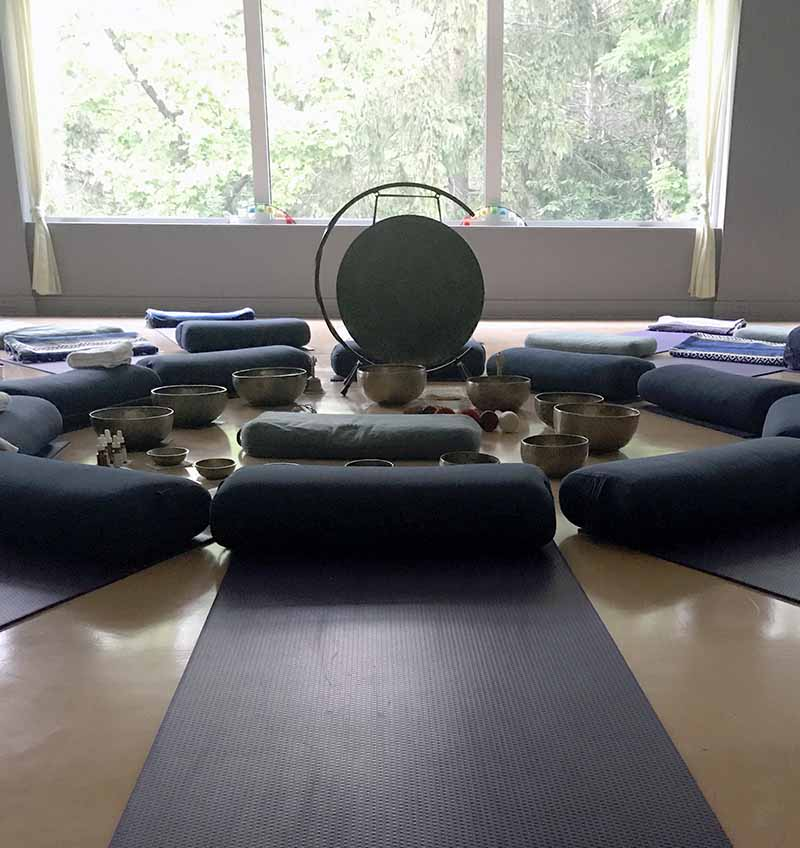 small group meditation with singing bowls